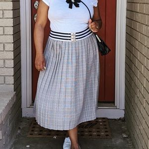 Vintage Plaid Pleated Long Skirt